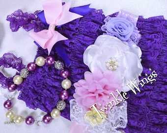 Baby Romper and headband 2 or 3 pc SET   Purple Cake Smash Outfit Baby girl 1st birthday outfit Baby Birthday Outfit Baby girl clothes