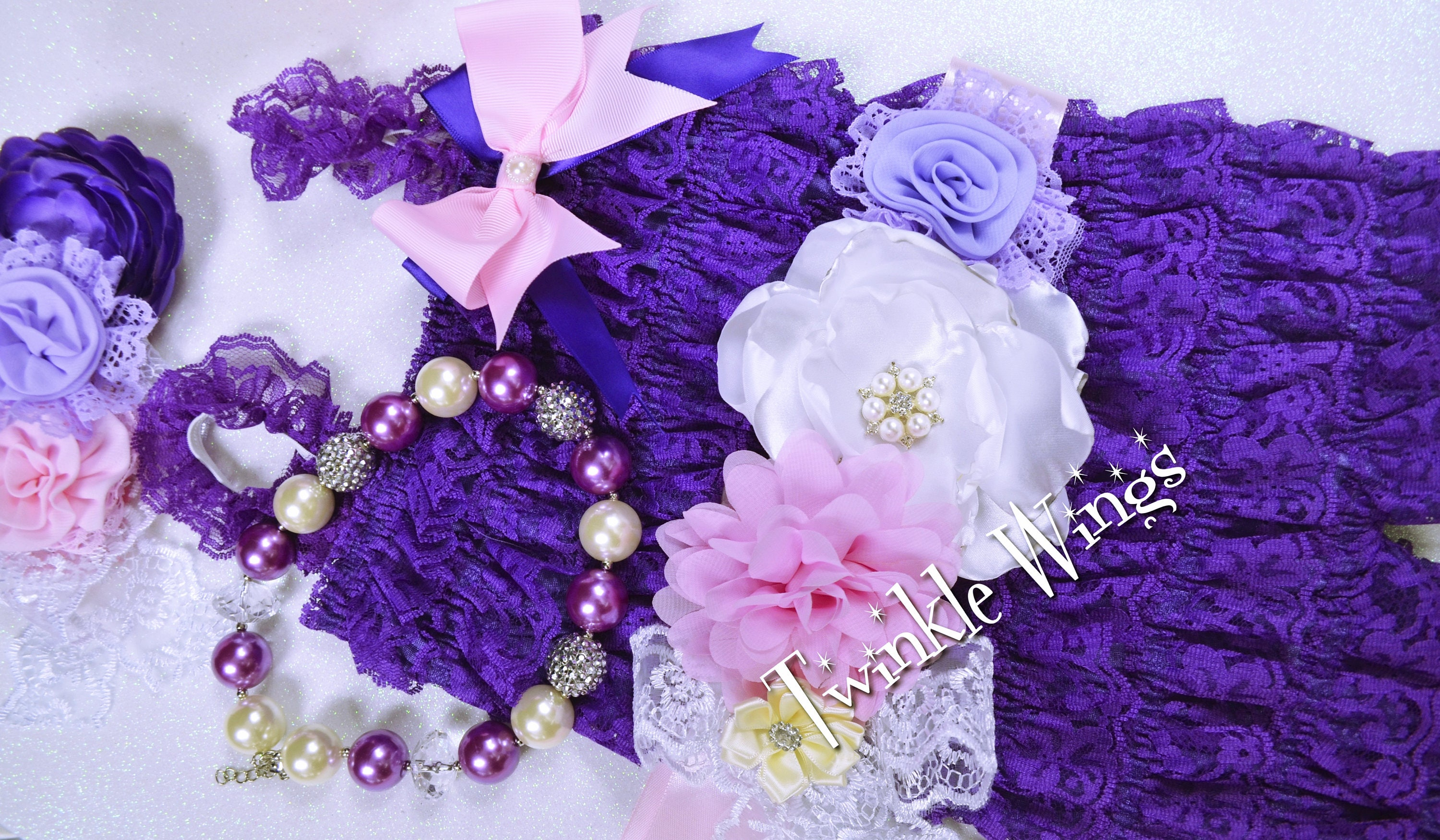 b0e5379c9a48 Baby Romper and headband 2 or 3 pc SET Purple Cake Smash Outfit Baby ...