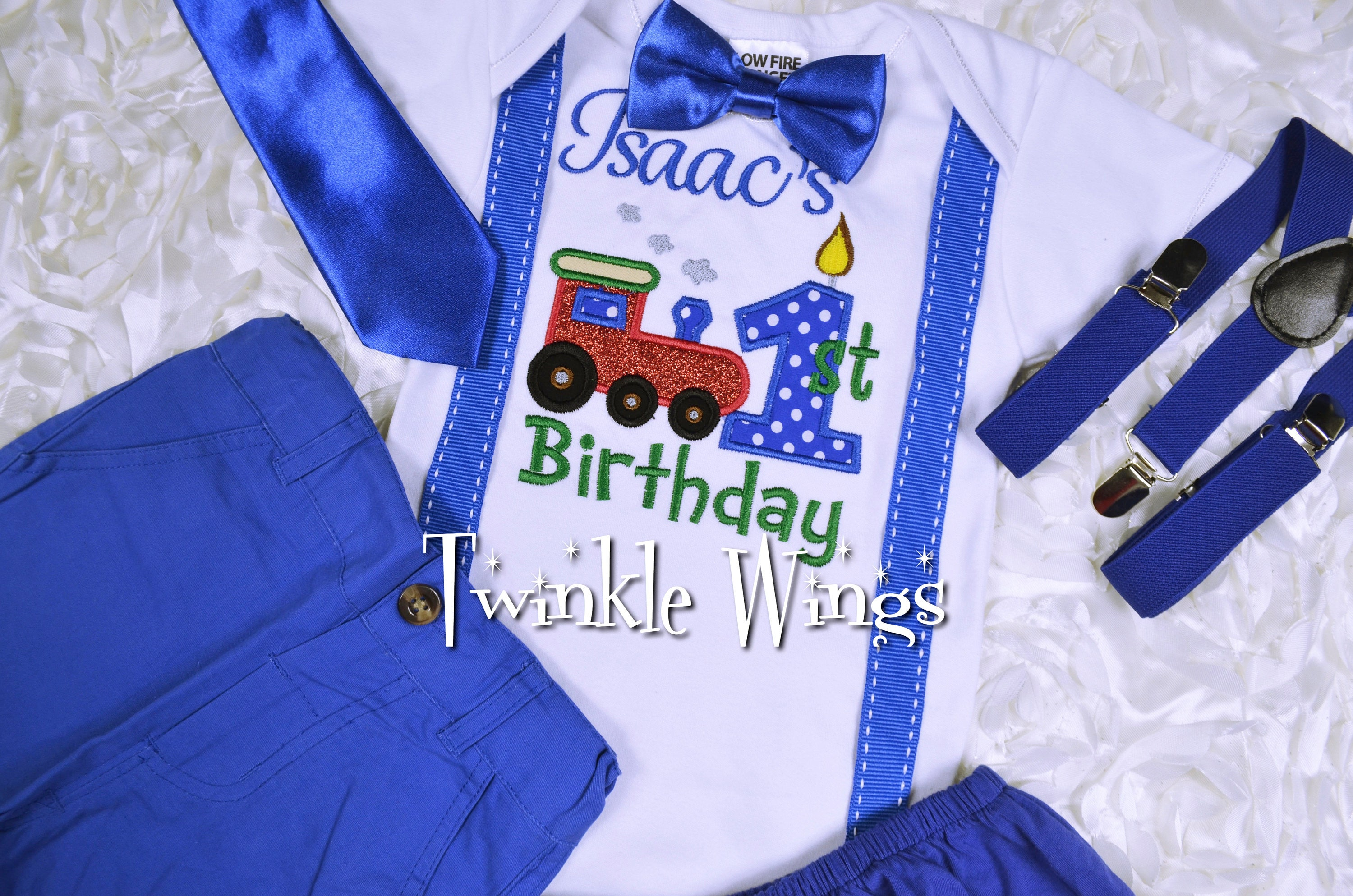 2 Pc Set Train Birthday Outfit