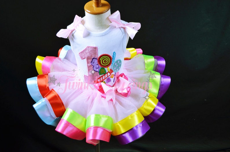 5d8b447d Candyland Birthday Outfit Sweet Shoppe Rainbow Ribbon Tutu | Etsy
