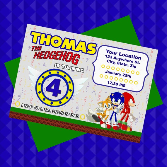 Sonic The Hedgehog Personalized Birthday Party Invitation Etsy