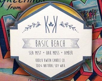 "SOY CANDLE - ""Basic Beach"" - Sea mist + oak moss + amber"