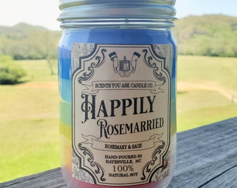 Happily Rosemarried soy candle
