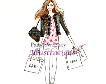 "Shopping In Style.  8.5""x11""print, Fashion Illustration"