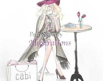 """Winter Cafe Au Lait. 8.5x 11"""" Print. Fashion Illustration"""