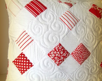 Red White Quilted Pillow Cover, Holiday Pillow, Tumbling Four Patch Pillow, Custom Quilted Pillow, Quilted Pillow Cover, Red White Pillow