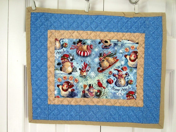 Four Christmas Quilted Placemats
