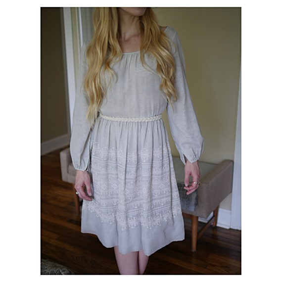 Grey Eyelet Puff Dress
