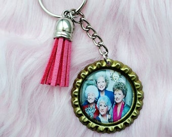 Dorothy in the Streets Blanche in the Sheets Keychain Aluminum Key Tag Golden Girl Key Ring