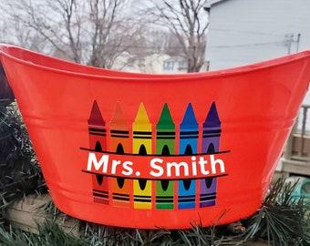 Teacher bucket, personalized teacher gift, teaching accessories, classroom decor, classroom accessories, teacher appreciation gift, teachers