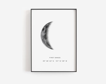 Wedding Location Print Gift For Couple Personalized Ideas Moon Phase Template Templett Poster C01 21