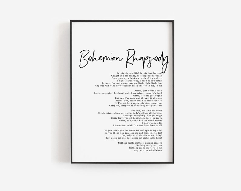Bohemian Rhapsody print, Bohemian Rhapsody song lyrics art, Editable quote  template, Queen band, Song posters, Custom print, Printable song