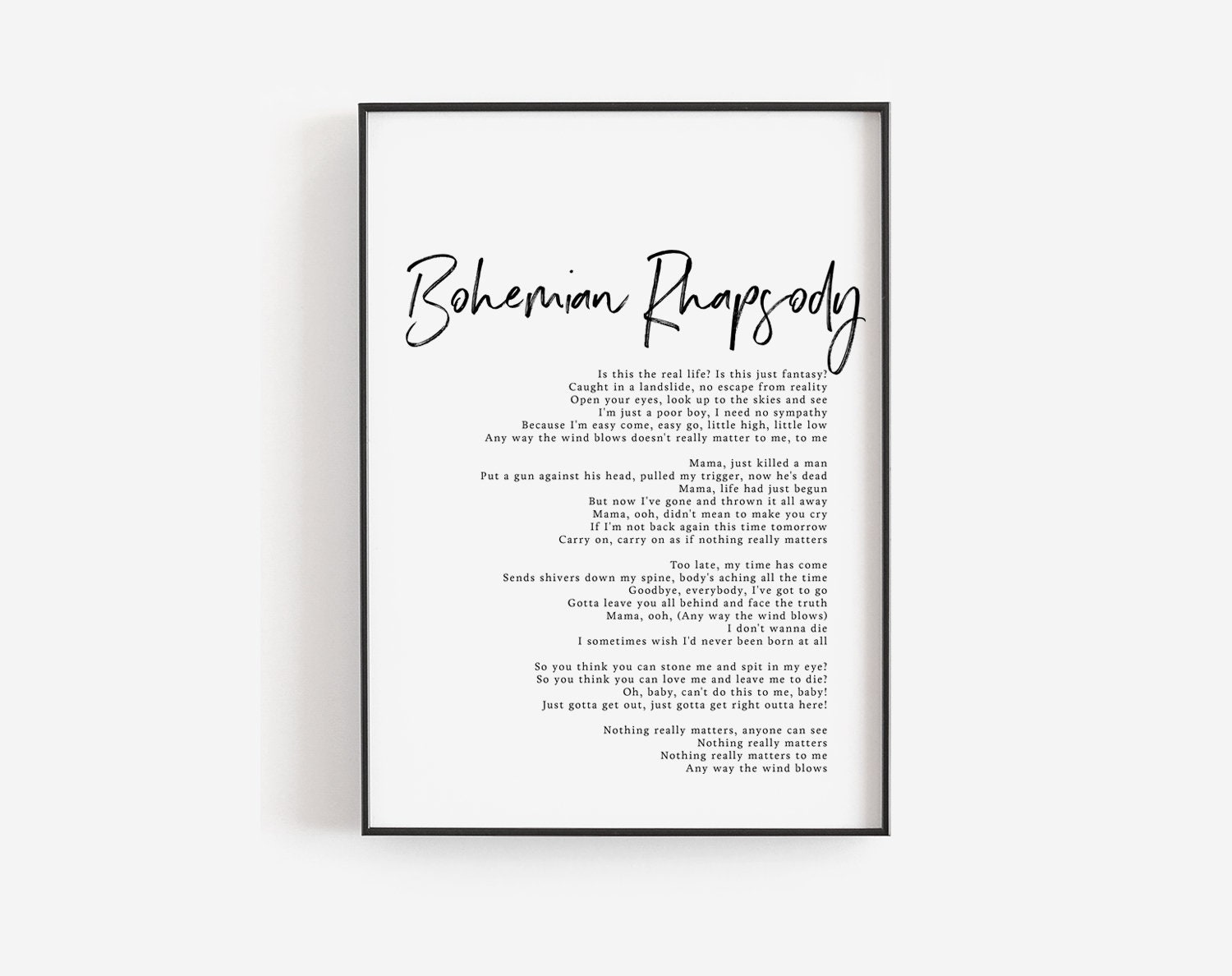 Bohemian Rhapsody print, Bohemian Rhapsody song lyrics art, Editable quote  template, Queen band, Song posters, Custom print, Printable song
