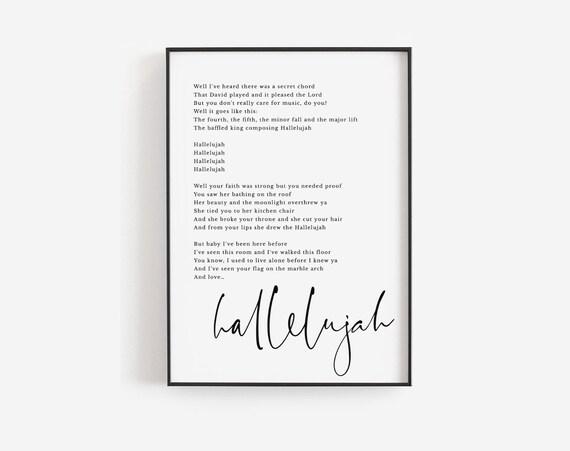 Christmas Hallelujah Lyrics.Personalized Christmas Gift Jeff Buckley Print Hallelujah Lyrics Song Lyrics Wall Art Custom Lyrics Print Custom Print Custom Quote