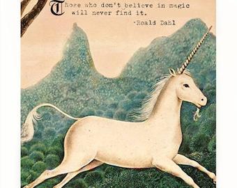 Vintage Unicorn Art Print, Roald Dahl Quote, Quotes on Magic, The Last Unicorn Vintage Art, Unicorn Wall Art,  Mythical Creatures Art Print