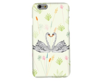 Swans Floral Phone Case, mobile cell phone accessories  apple iphone 5, SE, 6, 6s, 7, 8  Samsung S5, S6, S7, S8, nature, swan, gifts