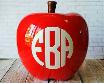 Teacher Appreciation Gift - Ceramic Red Apple - Monogram - Desk Decor - Classroom Gift - Teachers Apple - Personalized - Back To School
