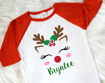 more colors girls reindeer christmas shirt