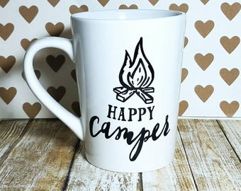 READY TO SHIP - Happy Camper Coffee Mug - Camping Mug - Fall Coffee Mug - Custom Coffee Mug - Birthday Gift - Campfire Mug