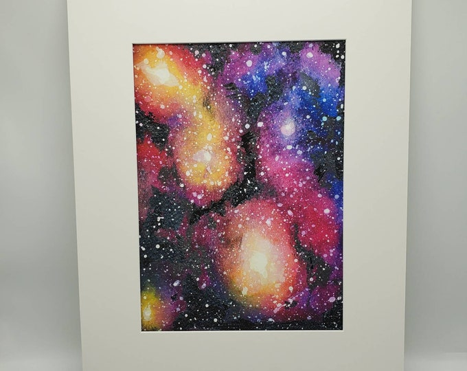 Featured listing image: Colorful Multicolor Night Sky Moon and Stars Galaxy Space Nebula Matted Print