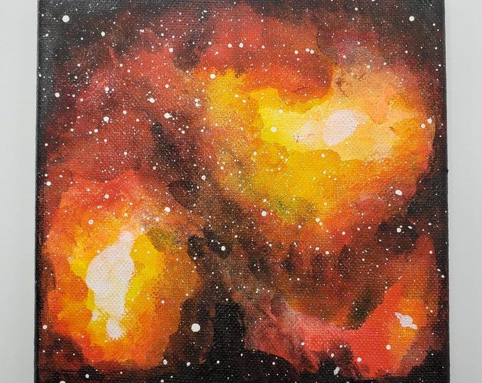Featured listing image: Colorful Orange and Yellow Acrylic Galaxy Painting