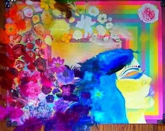 Colorful and Vibrant Mixed Media Collage of Woman