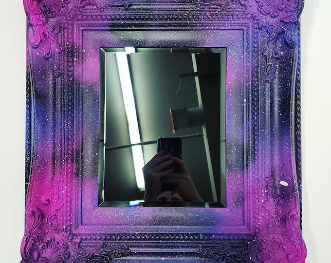 Featured listing image: Galaxy Spray Paint Framed Black Scrying Mirror