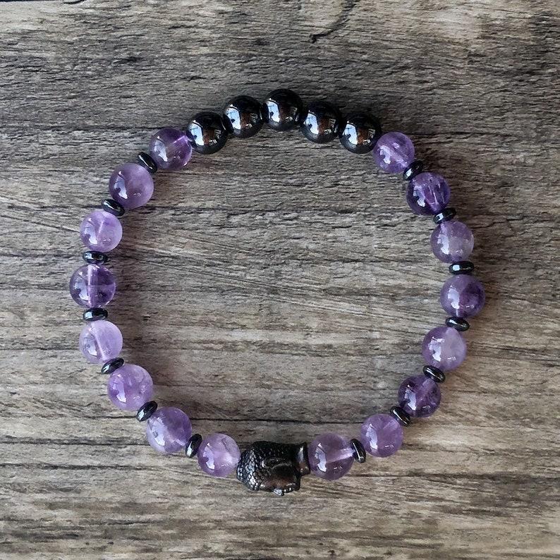 Amethyst /& Hematite Healing Bracelet Negative Thought Patterns Energy Bracelet Anger Layering Bracelet
