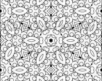 Kaleidoscope Adult Coloring Page - Calm Kaleidoscopes, Volume 1, Page 19 | Printable Instant Download