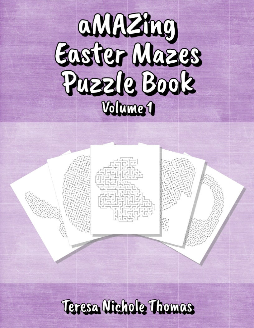 aMAZing Easter Mazes Puzzle Book   Volume 10   Printable Instant Download    Sixty Fun and Challenging Mazes in Five Assorted Easter Shapes