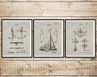 Sailboat blueprint etsy sailboat blueprint nautical wall art patent print group sailboat art patent print set nautical blueprintsailing gift instant download malvernweather Gallery