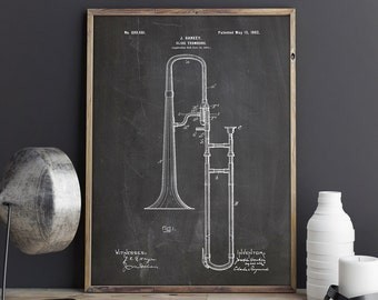 Clarinet 1894 patent poster musician gift music room decor etsy slide trombone patent poster music room decor band director jazz art trombone art musical art music decor big band instant download malvernweather Image collections