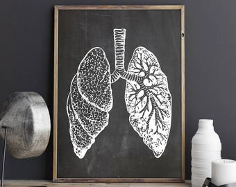 Lungs Print, Anatomical Decor, Anatomy Decor, Gift for The Surgeon, Anatomy Art Print, Human Lungs Print,Lungs Surgery Art, INSTANT DOWNLOAD