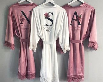 ab47e273b93a6 Floral Bridesmaid Robe, Personalised Wedding Dressing Gowns, bridesmaid  robes Bridal Party Robes, bridal robes, floral lace satin robes