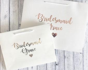 Personalised bridesmaid gift bag wedding gift bag personalised bridal party bag rose gold silver wedding hanger size extra large