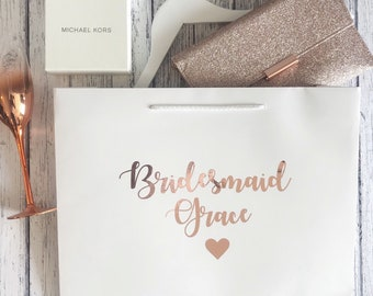 EXTRA LARGE personalised bridesmaid gift bag wedding gift bag personalised bridal party bag rose gold silver wedding hanger size