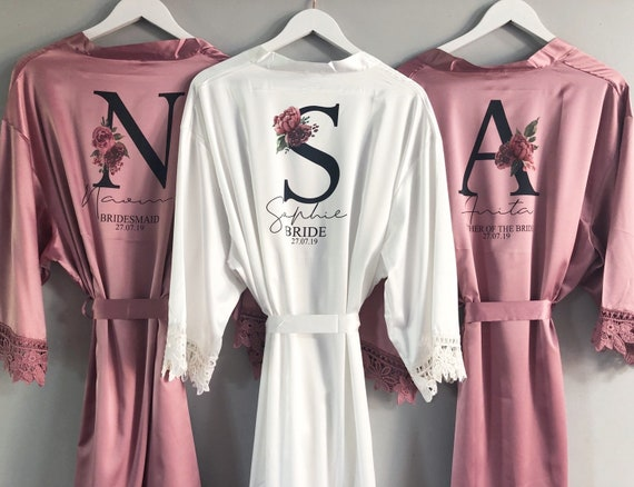 Personalized Set of 7 Bridesmaid Robes for Wedding \u2022 Bridal soft lace satin monogrammed initial luxury shower party dressing gown gift for