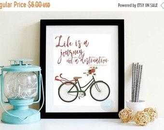 13% OFF SALE- PRINTABLE Art Life Is A Journey Ralph Waldo Emerson Emerson quoteFloral Bike Print Travel Wall Art Wedding Gift Apartment Deco
