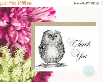 13% OFF SALE- DIGITAL Card Digital Thank You Card 5X7 Thank You Card Pdf Owl Print Owl Cards Instant Download Card Card Printable Thank You