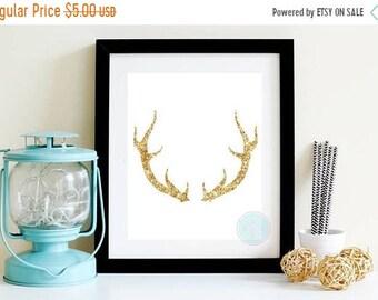 13% OFF SALE- PRINTABLE Art Gold Stag Gold Deer Deer Prints Gold Art Printable Gold Taxidermy Art Stag Buck Deer Deer Silhouette Gold Antler