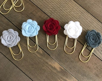 Winter Berries Felt Flower Planner Clips