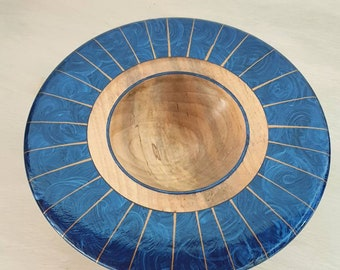 Bowl maple wood plate, acrylic paint, iridescent, art of filming, art deco