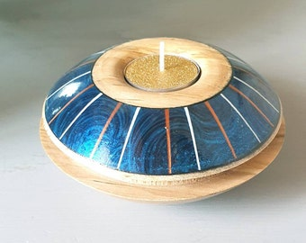 Maple wood round candlestick, art of turned wood, art of the table, candle, lay paint, wood decoration, wood deco object, contemporary candlestick