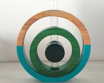 Soliflore cherry wood,vase, glass tube, art of turned wood, original interior creation,soliflore circle,deco wood,