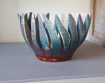 Turned wood salad, salad bowl flared flower, wood art turned, salad sculpture, resin salad sculpture, artwork, patinated wood, maple