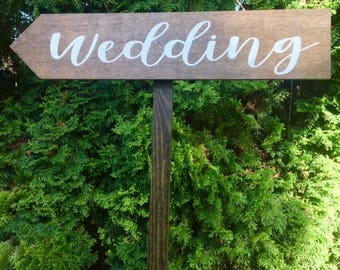 "Wedding Directional Arrow Sign-Rustic Wedding Sign-Wooden Wedding Sign-24""x 5"" Stake Wooden Sign-Woodsy Sign"