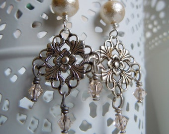 Prints (filigrees) dangling earrings small diamond silver, pearly beads - Bohemian chic - made in France