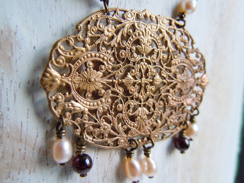 Bohemian chic beads of water soft and Garnet filigree oval brass Necklace print made in France