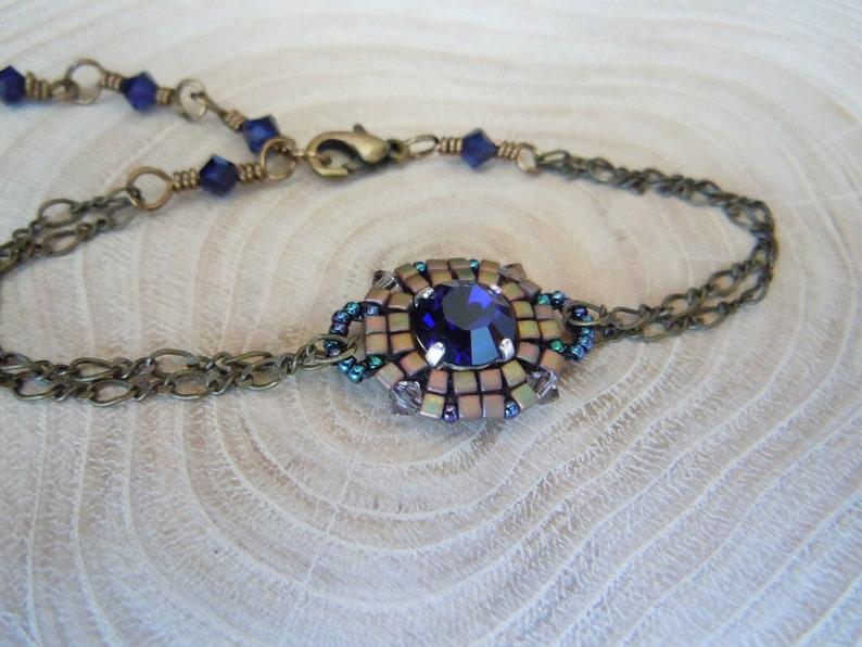22c5529c92b7 Pulsera Miyuki perlas japonesas tejidas y cabujón Swarovski