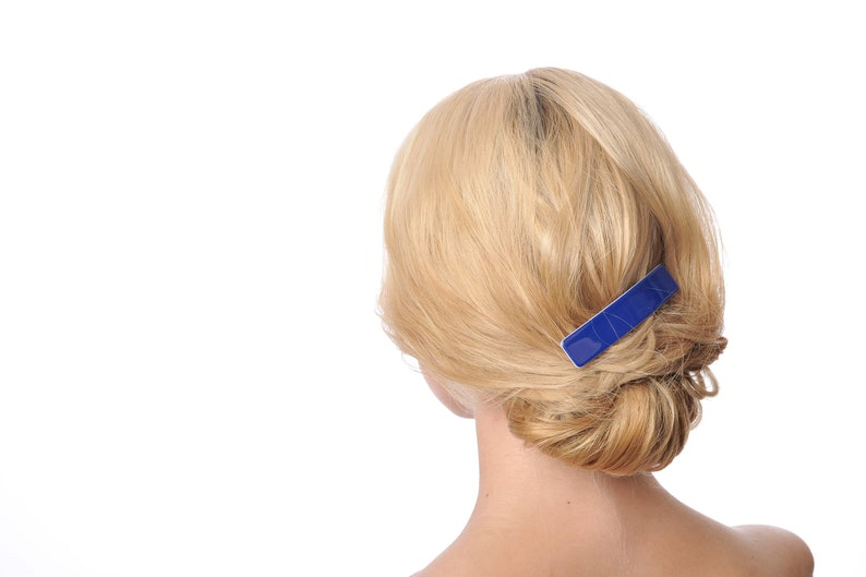 Office and Daily Hair Clip Hair Accessories Ponytail Holder Fashon Hair Accessorie For Women Blue and white barrette Minimalist clip